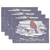 Vintage Bird Cardinal Placemats Merry Christmas Snow Table Mats Antideslizantes, Lavables, Resistentes al Calor, Individuales para Cocina, Comedor, decoración, Bandeja, tapete, 12 'x 18', Juego de 1