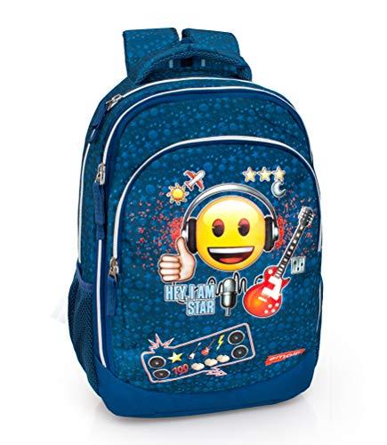 Ergonomischer Schulrucksack Emoji Rucksack Sporttasche (Rock Star)