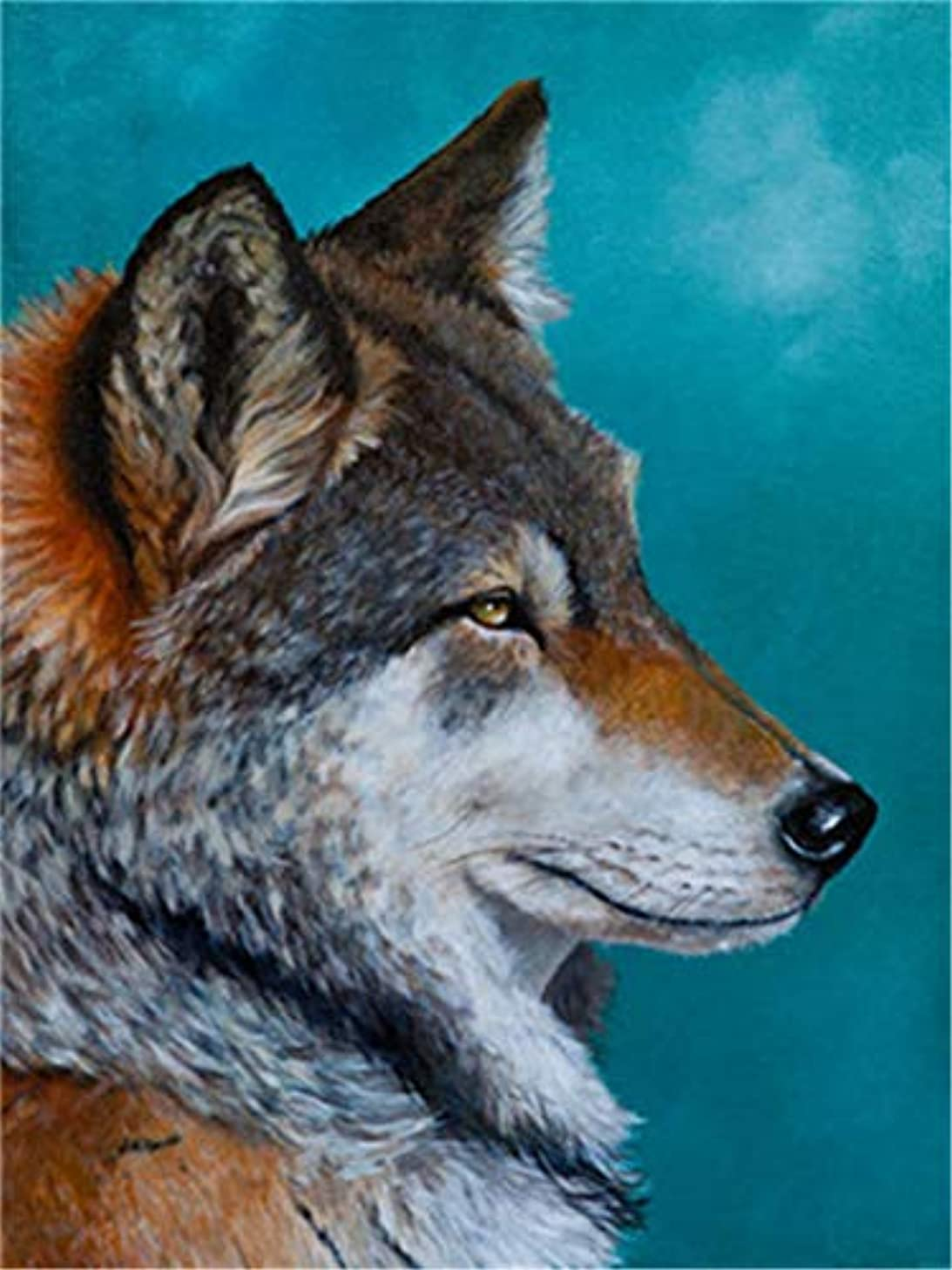 Paint by Numbers Kits DIY Oil Painting Home Decor Wall Value Gift - Depressed Wolf 16X20 Inch (Frame)
