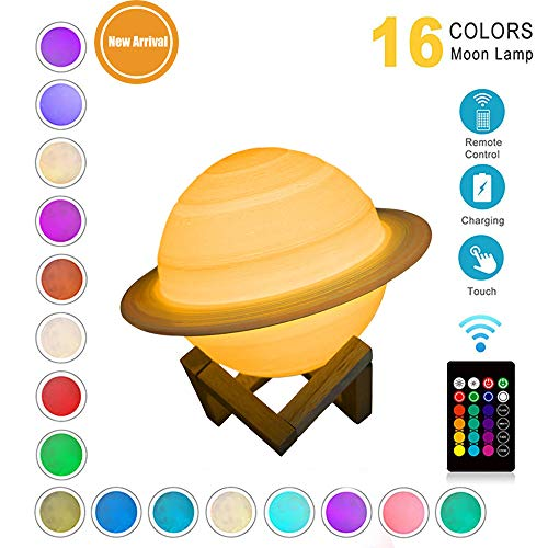 Schlafzimmer Dekoration Lampe, Geschenk für Kinder, LED Mond Lampe, 3D Gedruckt 16 Farben ändern Nachtlicht RGB Moon Lampe mit Remote & Touch Control, USB Wiederaufladbar, 15CM (Saturn)