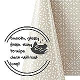 Elegante Wachstuchtischdecke Beige Retro Weiß Blumendruck, Abwischbare PVC Wachstuch Rechteckige 200 x 140 cm - Blumen Wachstischdecke Pflegeleicht Creme Vinyl-Kunststoff Tischdecke Wasserdichtes - 5