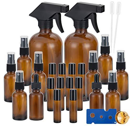 Ätherisches Öl Braunglasflasche Sprühflasche Nachfüllflaschenn (2x500ml,8x30ml) Wassersprühgerät,2x30ml Pipettenflasche,10x10ml Rollenkugel Glasflaschen für Pflanzen, Friseur,Aromatherapie Mischungen