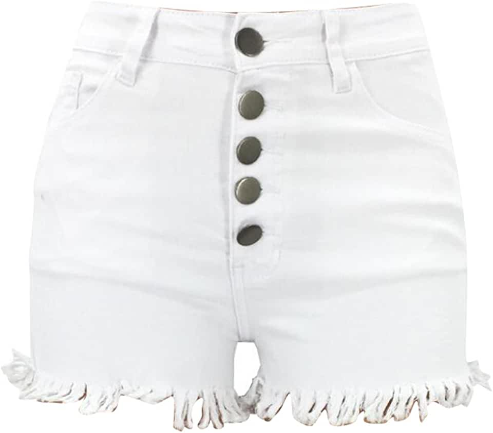 MMCP-Women Skinny Tassles Stretch High Rise Summer Denim Shorts Jeans Hot Pants