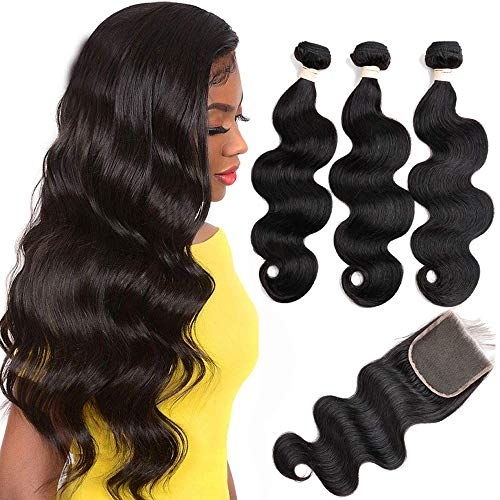 LUXEDIVA Brazilian Body Wave 3 Bundles with Lace Closure (18 20 22+18 Closure) 4x4 Lace Closure with Bundles Virgin Human Hair Bundles with Closure 8a Hair Extensions