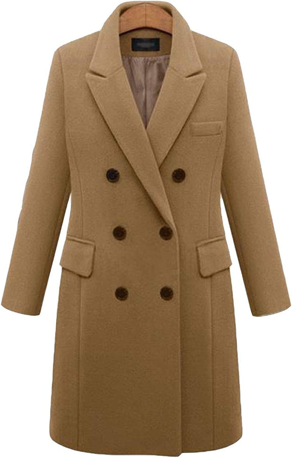 LINGMIN Women's Notched Lapel Pea Coats Double Breasted Long Sleeve Outwear Trench Coat