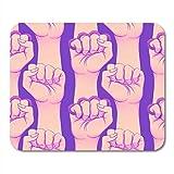 Gaming Mouse Pad Mano de mujer con nudillos de latón Puño levantado Girl Power Feminismo Realista en rosa y púrpura Decoración Accesorios de computadora de oficina Alfombrilla de goma antideslizante A