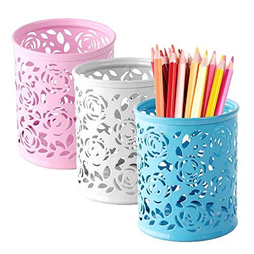 LdawyDE Porta Lápices Metal, 3 Piezas Hueco Rose Flower Portalápices Organizador de Escritorio Soporte para Pinceles de Maquillaje Lápiz Organizador de Vasos Contenedor para Oficina en Casa