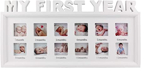 My First Year Frame Baby Picture Keepsake Frame for Photo Memories, White