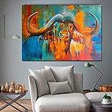 YuanMinglu Buffalo Wohnzimmer Wandbild Farbe Leinwand Malerei Tierkunst Leinwand Kunstdruck Poster Dekoration rahmenlose Malerei 40x60cm