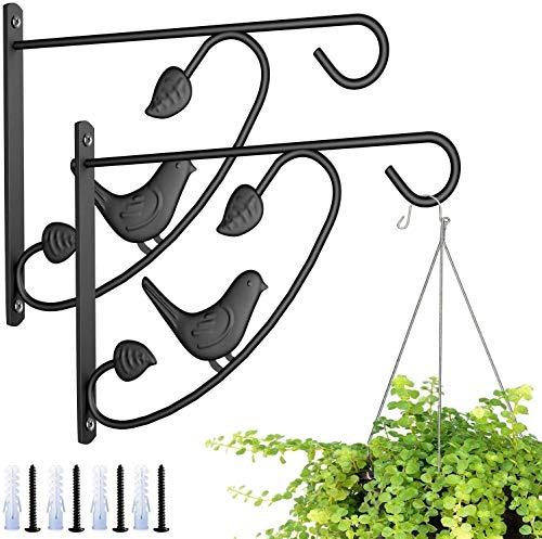 KSS 2 Stück Wandhalterung für Hängekörbe, Wandhaken, Pflanzkorbhalter, Haken für Garten, Rasen, leichte Blumentöpfe, Vogelfutterspender, Pflanzen, Laternen, Windspiele (Vogel)