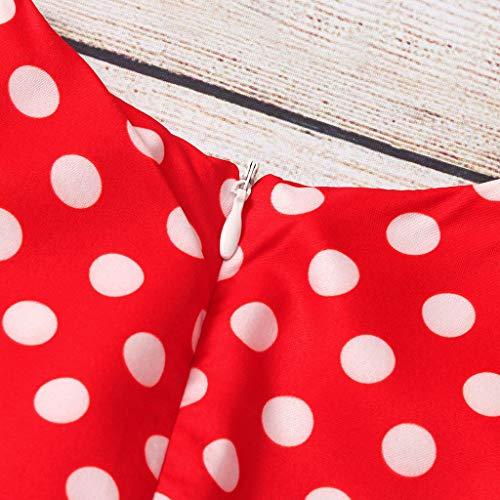 YWLINK Verano NiñAs Vestido Vintage De Manga Corta con Cordones Y Lunares Vestido De Princesa De Baile Lindo Vestido De Fiesta De Boda Playa Regalo De CumpleañOs(Rojo,6-8 años/140cm)
