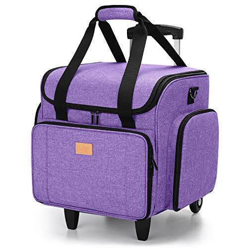 Luxja Bolsa para Máquinas de Coser con Trolley desmontable, Maletas de Transporte para Máquinas de Coser y Accesorios (Solo Bolsa), Púrpura