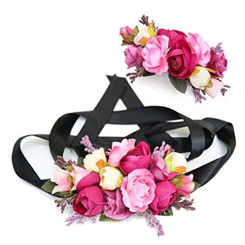 Ever Fairy moda flor cinturones de flores Conjunto de peine de pelo...