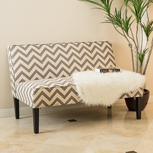 Alpha Modern Zig-Zag Fabric Upholstered Loveseat, Dark Gray, Ivory, and Matte Black