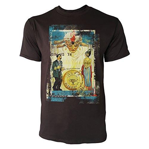 Alfs im Jugendstil Herren T-Shirts Braunes Cooles Fun Shirt mit Tollen Aufdruck