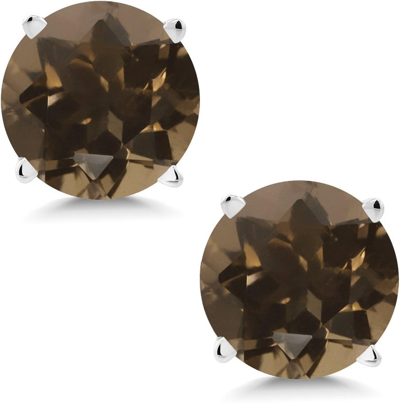 1.60 Ct Round 6mm Brown Smoky Quartz 14K White gold Stud Earrings
