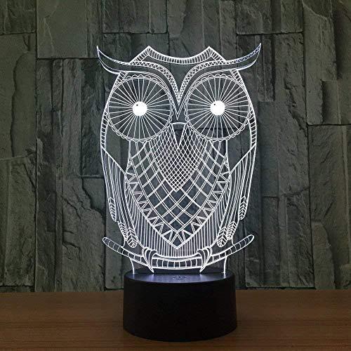 3D Night Light Owl Nursery 7 colores Sensor Room Decoration Luces del dormitorio Led Night Lights para niños Niños Baby
