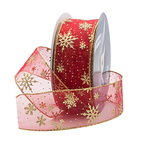 Red Organza Glitter Wired Sheer Christmas Ribbon - Gold Edge, 2.5' (#40) Snowflake Design for Floral, Craft, Holiday Decoration, 50 Yard Roll (150 FT Spool) Bulk by Royal Imports