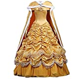 Beauty and The Beast Belle Costume Halloween Costumes for Women Princess Yellow Belle Dress Costume Cloak (Female S)