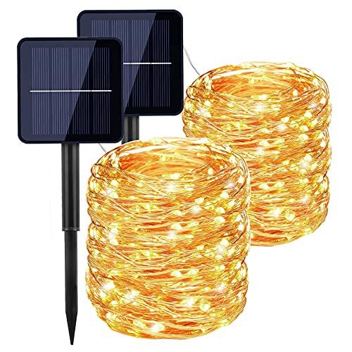 Guirnaldas Luces Exterior Solar, [2 Paquetes] Luces LED Solares para Exteriores 22M 200 LED por Cadena, 8 Modos Luces Solares LED Exterior Jardin para Navidad, Fiestas, Bodas, Dormitorio, Halloween