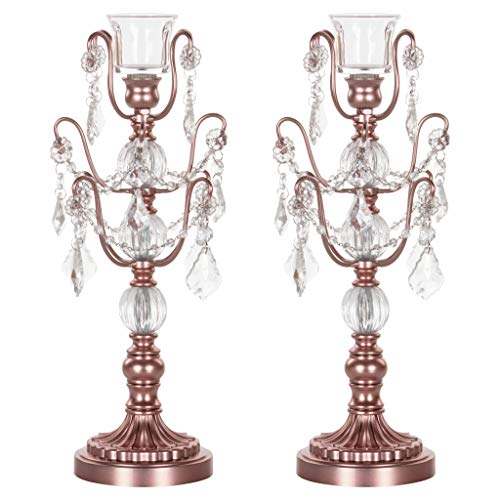 Amalfi Decor 2-Piece Glass Metal Candelabra Set, Single 1-Light Votive Candle Taper Candlestick Holder Unity Accent Stand (Rose Gold)