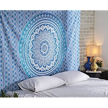Aakriti Gallery Tapestry Queen Ombre Gift Hippie Tapestries Mandala Bohemian Psychedelic Intricate Indian Bedspread 92x82 Inches (Blue)