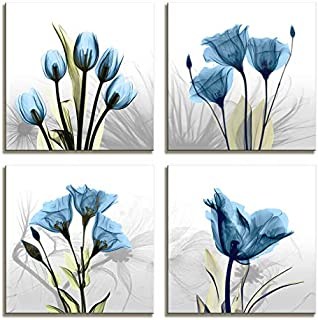 Moyedecor Art - 4 Panel Elegant Tulip Flower Canvas Print Wall Art Painting For Living Room Decor And Modern Home Decorations (Four 12X12in, Blue flower prints framed)