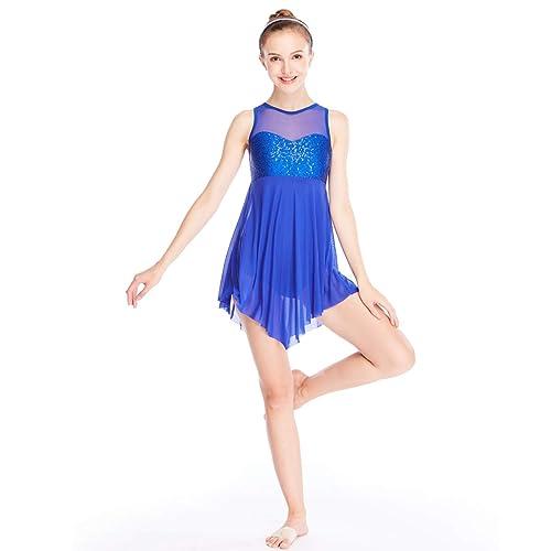 321fd383a74f MiDee Lyrical Dance Costume Dress Illusion Sweetheart Sequins Trianglar Cut  Skirt