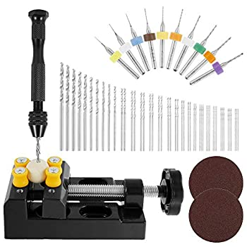 Welpettie 62Pcs Pin Vise Hand Drill Bits Mini Hand Drill Rotary Tools With Twist Drills And Bench Vice For Craft Carving Diy Woodworking Plastic Jewelry Or Model Making  0.3-3.0Mm