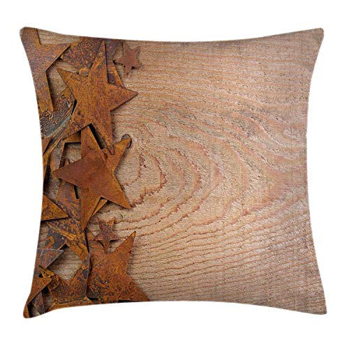 ZHIZIQIU Western Throw Pillow Cushion Cover, Rusty Stars on Wooden Background Aged Antique Vintage Country Design, Decorative Square Accent Pillow Case, 18 X 18 inches, Dark Orange Warm Taupe