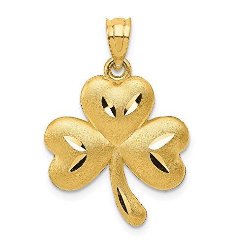 14k Yellow Gold Shamrock Pendant Charm Necklace Good Luck Italian Horn Celtic Claddagh Fine Jewelry For Women Gifts For Her