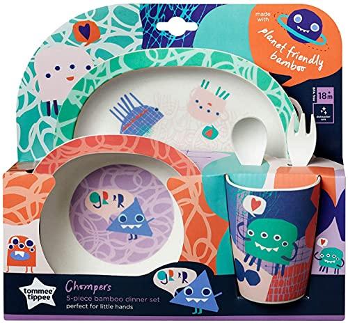 SRV Hub - Juego de vajilla infantil (5 piezas, juego de cena para niños), unisex para niños y niñas a partir de 12 meses, sin BPA, plato de bambú y tazón