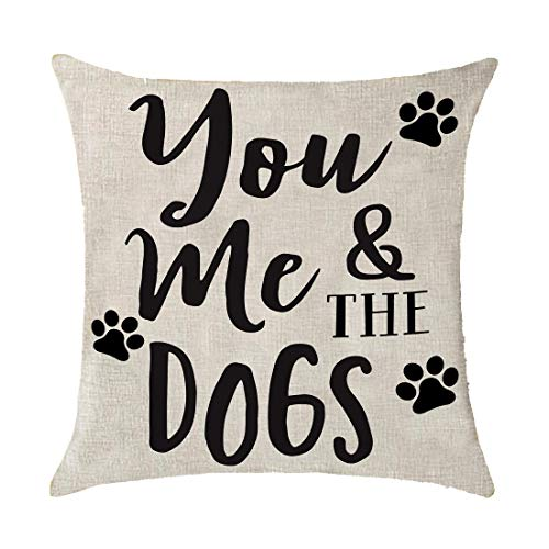 Bnitoam Animal You Me and The Dogs Print Gift Holiday Cotton Linen Throw Pillow Covers Case Cushion Cover Sofa Decorative Square 18x18 inch Decorative Pillow Wedding