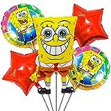 Bob Esponja Globos Niños - DNDZ 5 Piezas Decoración de Fiestas de Globos Suministros de Fiesta de Cumpleaños Globos de Papel de Aluminio para Niños Baby Shower