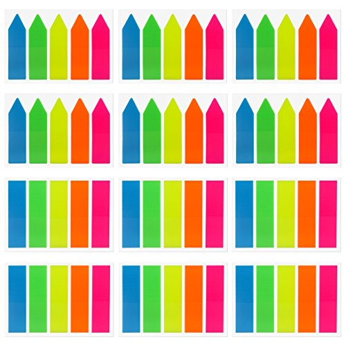 Antner 1500 Pieces Neon Page Markers Sticky Tabs Colored Index Tabs Flags, Fluorescent Sticky Notes for Page Markers, 12 Sets 2 Sizes
