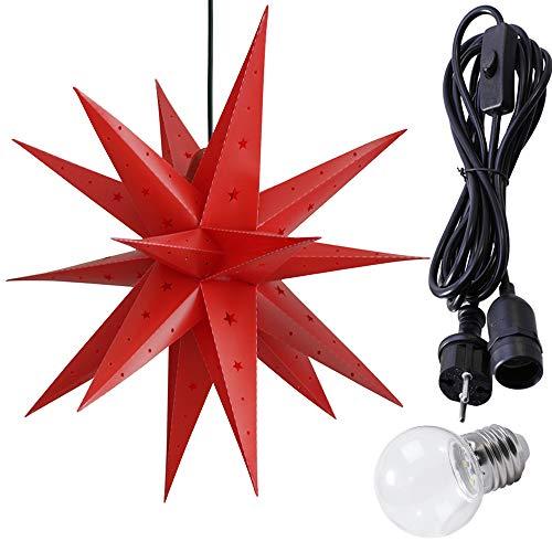 ETiME Adventsstern Weihnachtsstern Stern 3D Kunststoff Außenstern Lampe Fensterstern Deko Rot (Rot + Wasserdicht Kabel und Leuchtmittel)