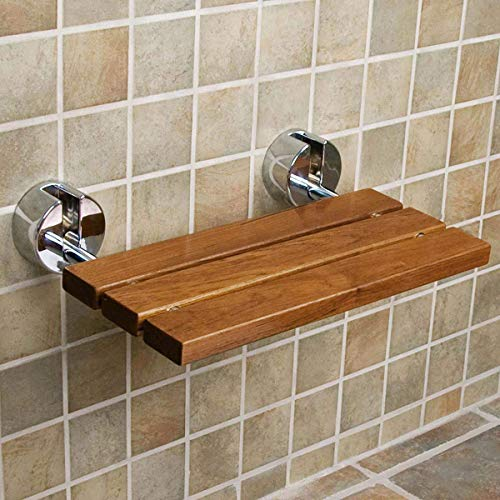 "Clevr 20"" Teak Wood Modern Folding Shower Seat Bench, Clear Coated for Protection and Premium Smooth Finish, Medical Wall Mount Foldable Fold Up Chair Bathroom Stool Foldaway Shower Seating"