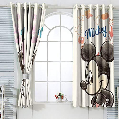 Mic-key Min-nie Mouse Cortinas para habitaciones de niños, cortinas térmicas aislantes, cortinas opacas con aislamiento térmico, 106 x 182 cm