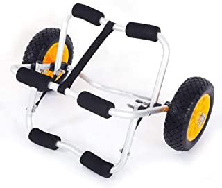 "Taltintoo20 Bend Kayak Canoe Boat Carrier Dolly Trailer Trolley Transport Cart Wheel Yellow, Material PU & Aluminum Alloy, Weight 6.61 lbs, Dimensions 27.95"" L x 16.54"" W x 4.72"" H, Tube 1.5mm"