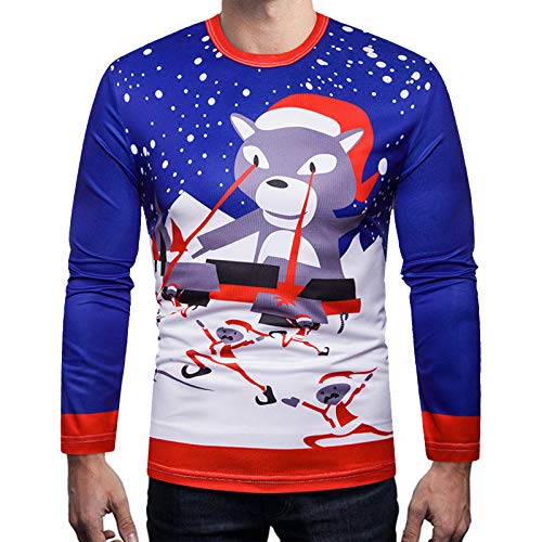 Xmiral Weihnachten Shirt Herren Langarm 3D Gedruckt T Shirt Herbst Bunt Kostüm...
