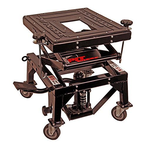 Pit Posse PP2551S Motorcycle ATV Scissor Floor Jack Lift Table Stand with Caster Wheels 13 Inches Thru 36-Inch-High – Stable – Safe – Comfortable – 2 Years Warranty