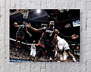 Lebron James Dwyane Wade NBA Poster Standard Size | 18-Inches by 24-Inches | Lebron James Dwyane Wade Alley-OOP Wall Poster Print