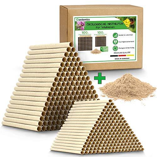 Gardemics Insektenhotel Bausatz - Ökologische Nisthülsen für Wildbienen inkl. gratis Lehm & E-Book - 200 Nisthilfen mit Ø 6 & 8mm - Made in Germany - Super Pappröhrchen für Insektenhotel