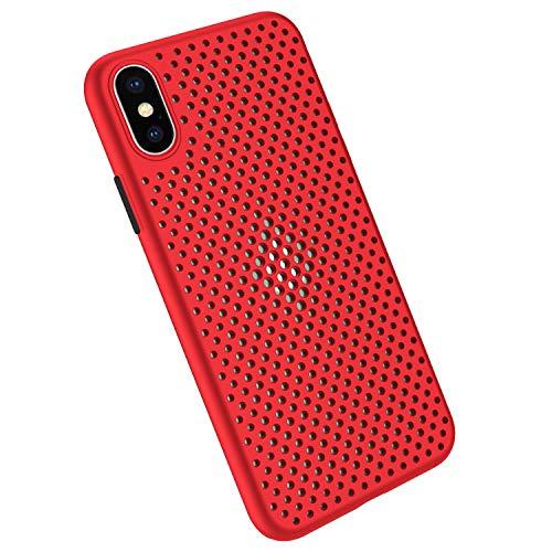 Funda Compatible con Silicone Case para iPhone X, Carcasa de Silicona Suave Antichoque Bumper Anti-Sobrecalentamiento Case para iPhone XS, Rojo
