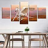 HD gedruckte Leinwand Wandkunst Bild 5 Stück Weiß Pegasus