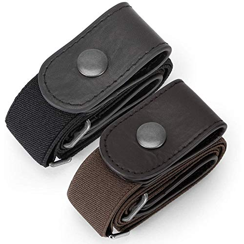 2 Pack Buckle Free Comfortable Elastic Belt for Women or Men, WHIPPY Buckle-less No Bulge No Hassle Invisible Belts (Black Coffee, Fit Pants Size 32-48 Inches)