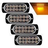 Teguangmei 4 Luces de Emergencia Ultrafinas 12 LED ámbar, coche Luces Estroboscópicas Peligrosas...