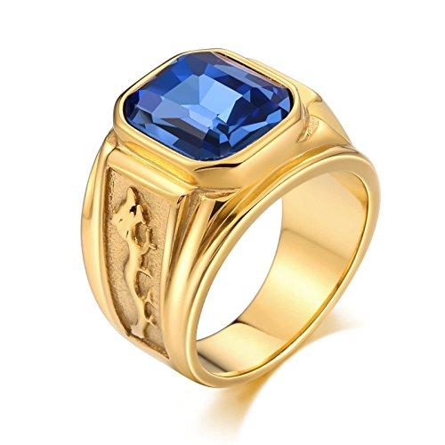 Bishilin Edelstahl Männer Ringe Edelstahlring Gold mit Drachen Rechteck Blau Zirkonia Partnerringe Retro Ring Gold Größe 65 (20.7)