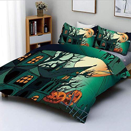 Juego de funda nórdica, murciélagos de dibujos animados medievales encantados en Twilight Gothic Fiction Spooky ArtDecorative Juego de cama de 3 piezas con 2 fundas de almohada, verde azulado naranja,