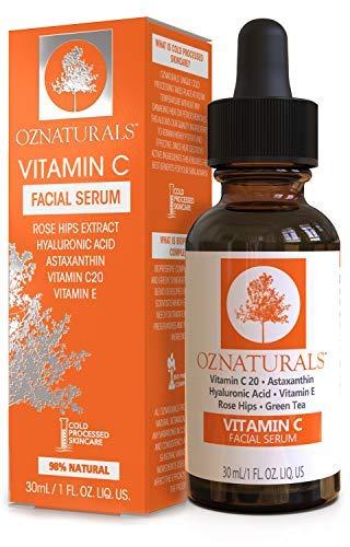 OZNaturals Suero facial de vitamina C con acido hialurónico 98% natural 1...